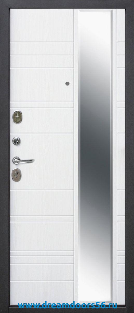 Входная дверь с зеркалом Монако 9,5 ясень белый эмаль